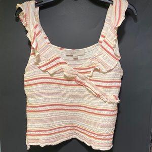 LOFT by Ann Taylor Ruffle striped wrap top